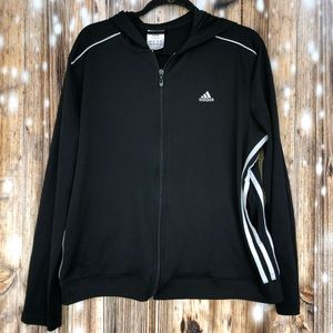 Women's Adidas Striped Zip Up Jacket Size XL